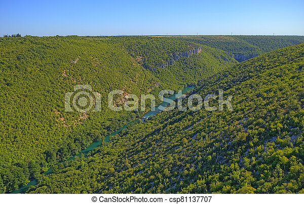 Aerial view of the Krka River Canyon - csp81137707