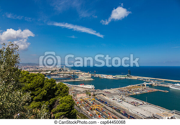 Aerial view of the port in Barcelona, Spain - csp64450068