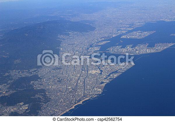 Aerial view of the Port of Kobe in Japan - csp42562754