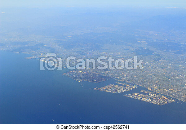 Aerial view of the Port of Kobe in Japan - csp42562741