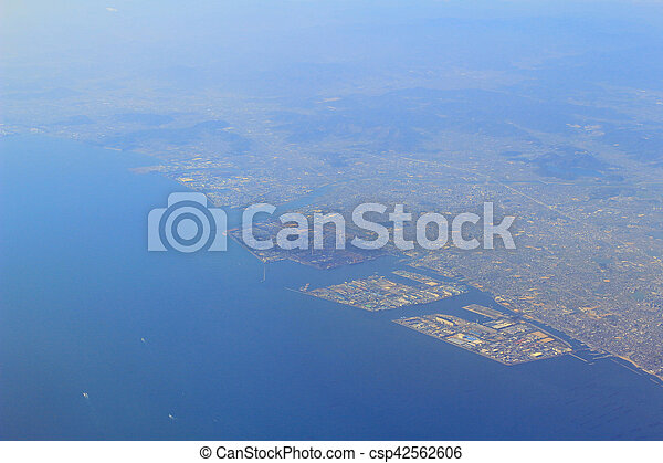 Aerial view of the Port of Kobe in Japan - csp42562606