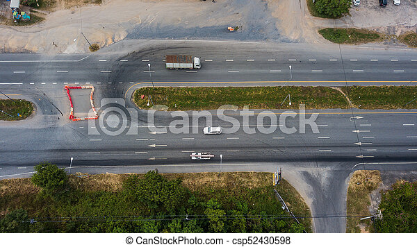 Aerial view of the road - csp52430598