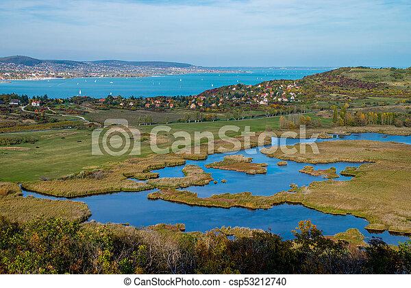 Aerial view of Tihany at lake Balaton in Hungary - csp53212740