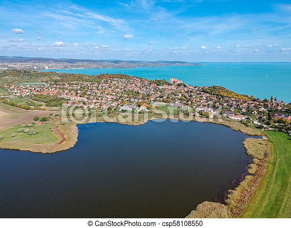 Aerial view of Tihany at lake Balaton - csp58108550