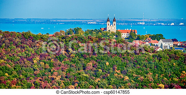 Aerial view of Tihany at lake Balaton - csp60147855