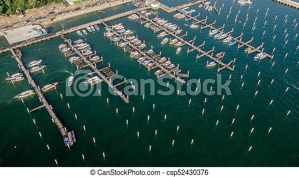 Aerial view of Tour port in Pattaya , Thailand - csp52430376