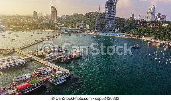 Aerial view of Tour port in Pattaya , Thailand - csp52430382