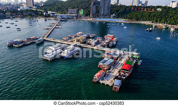 Aerial view of Tour port in Pattaya , Thailand - csp52430383