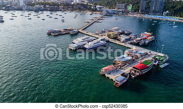 Aerial view of Tour port in Pattaya , Thailand - csp52430385