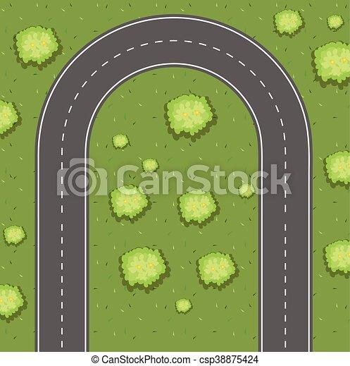 Aerial view of u-turn road - csp38875424