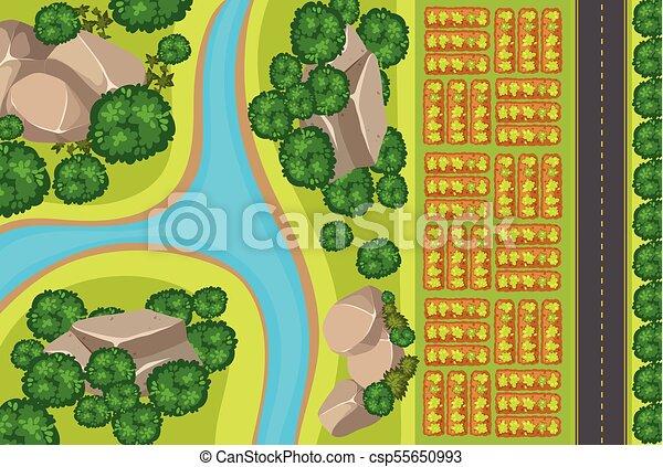 Aerial view of vegetable garden - csp55650993