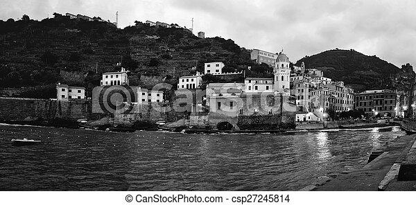 Aerial view of Vernazza - small italian town in the province of La Spezia, Liguria, northwestern Italy. - csp27245814