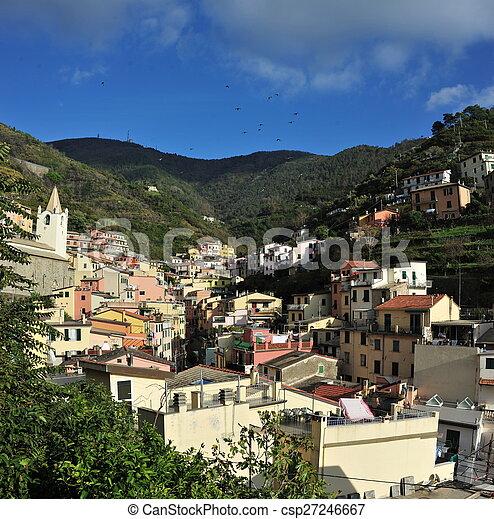 Aerial view of Vernazza - small italian town in the province of La Spezia, Liguria, northwestern Italy. - csp27246667