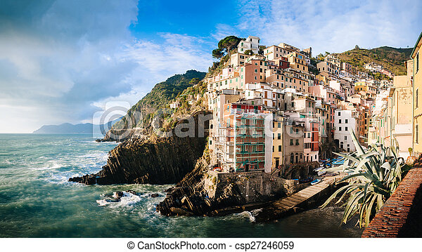 Aerial view of Vernazza - small italian town in the province of La Spezia, Liguria, northwestern Italy. - csp27246059