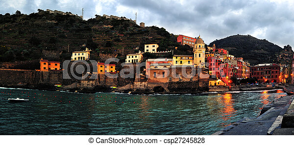 Aerial view of Vernazza - small italian town in the province of La Spezia, Liguria, northwestern Italy. - csp27245828
