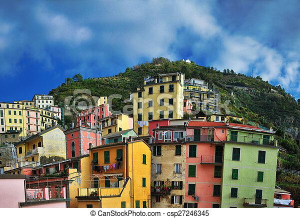 Aerial view of Vernazza - small italian town in the province of La Spezia, Liguria, northwestern Italy. - csp27246345