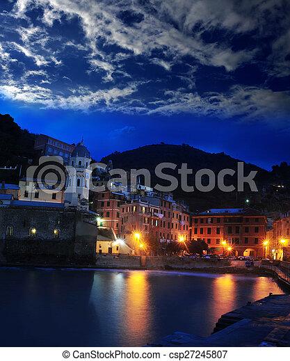 Aerial view of Vernazza - small italian town in the province of La Spezia, Liguria, northwestern Italy. - csp27245807