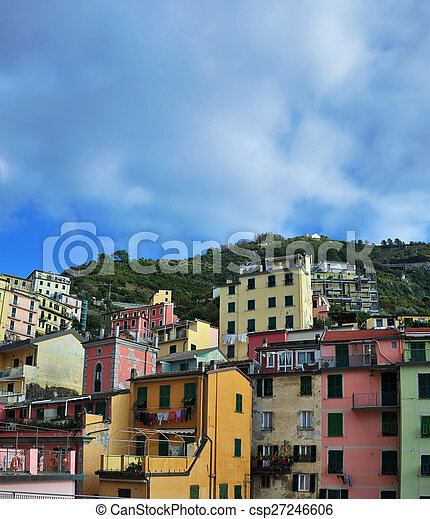Aerial view of Vernazza - small italian town in the province of La Spezia, Liguria, northwestern Italy. - csp27246606
