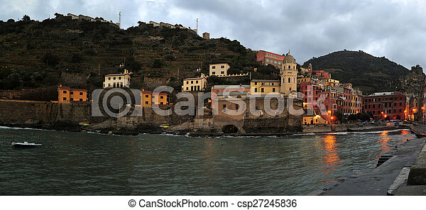 Aerial view of Vernazza - small italian town in the province of La Spezia, Liguria, northwestern Italy. - csp27245836