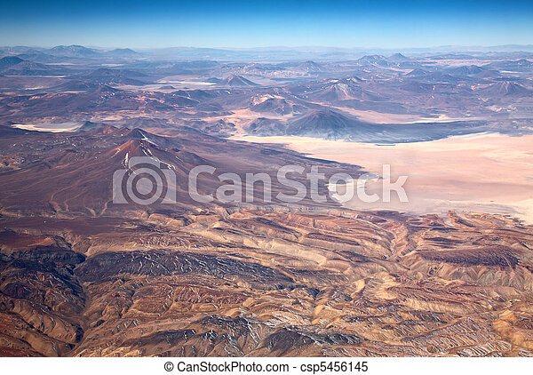 aerial view of volcanoes in Atacama desert, Chile - csp5456145