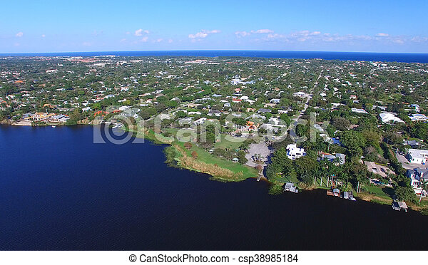 Aerial view of West Palm Beach, Florida - csp38985184