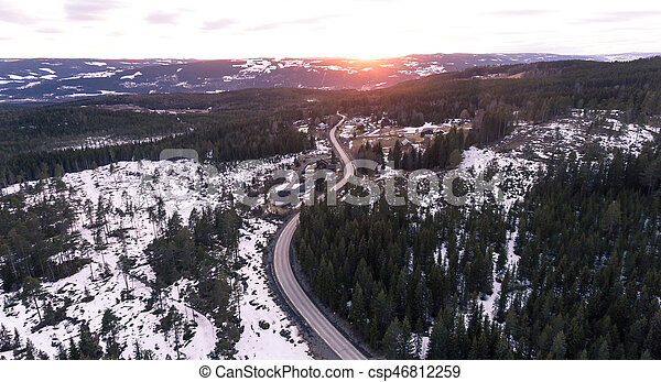Aerial view of winding road - csp46812259