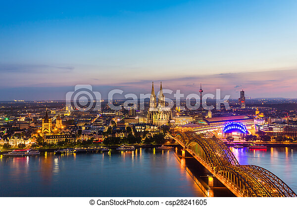 Aerial view on Cologne at dusk sunset - csp28241605