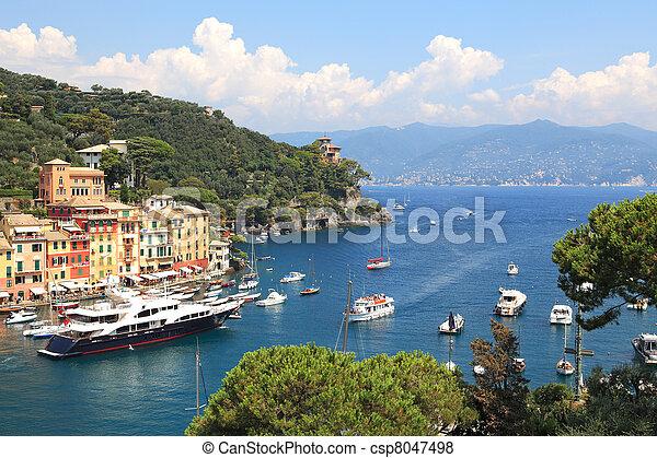 Aerial view on Portofino bay. - csp8047498