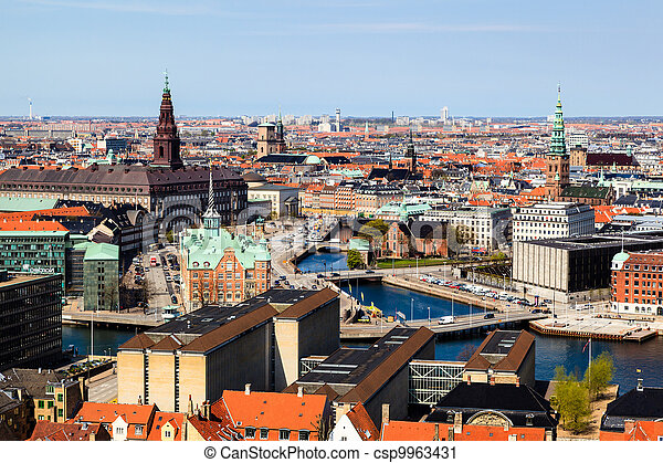 Aerial View on Roofs and Canals of Copenhagen, Denmark - csp9963431