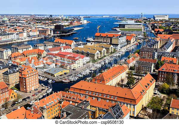 Aerial View on Roofs and Canals of Copenhagen, Denmark - csp9508130