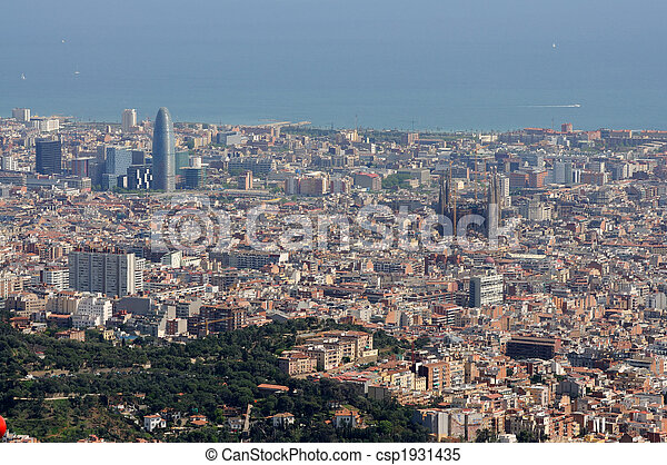 Aerial View Over Barcelona Spain Stock Image Csp1931435