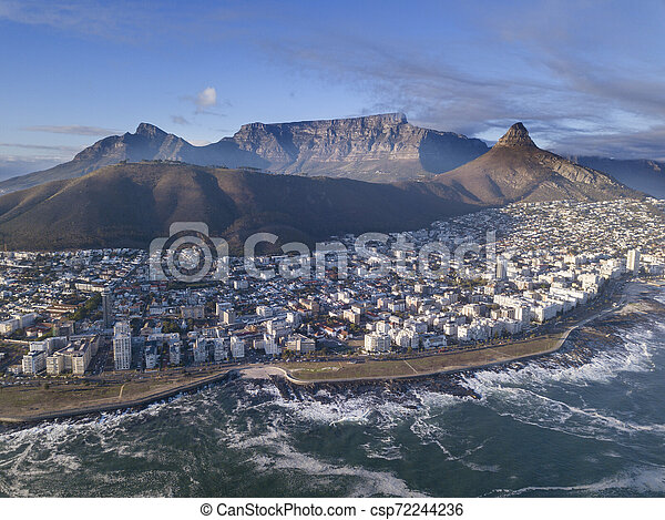 Aerial view over Cape Town, South Africa with Table Mountain - csp72244236