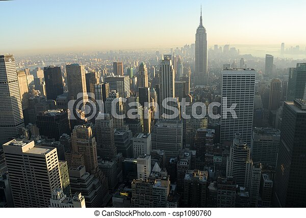 Aerial view over Midtown of Manhattan, New York City - csp1090760
