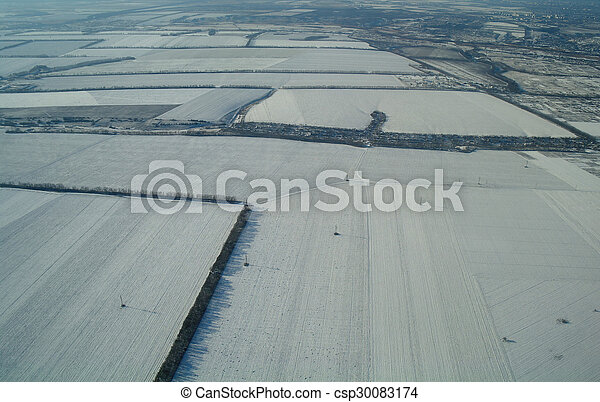aerial view over the agricultural plant - csp30083174
