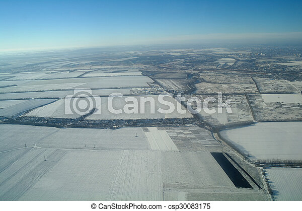 aerial view over the agricultural plant - csp30083175