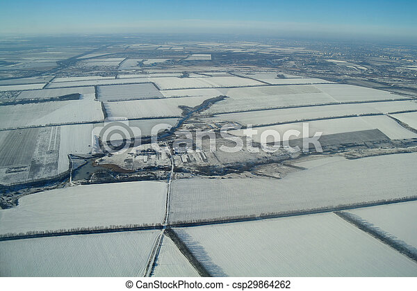 aerial view over the agricultural plant - csp29864262