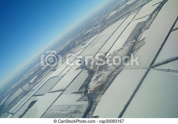 aerial view over the agricultural plant - csp30083167
