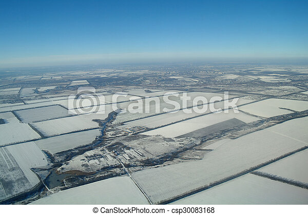 aerial view over the agricultural plant - csp30083168