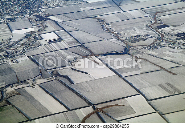 aerial view over the agricultural plant - csp29864255