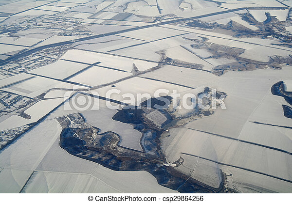 aerial view over the agricultural plant - csp29864256