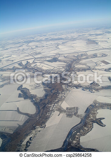 aerial view over the agricultural plant - csp29864258