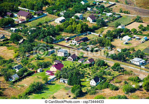 Aerial view over the small town - csp73444433