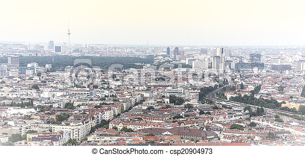 aerial view panorama of berlin, with tv tower - csp20904973