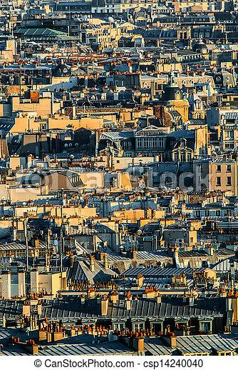 aerial view paris cityscape  France - csp14240040
