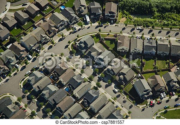 Aerial View - Suburban Neighborhood - csp7881557