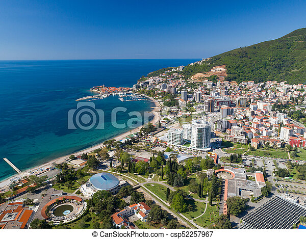 aerial view to the Old Town of Budva - csp52257967