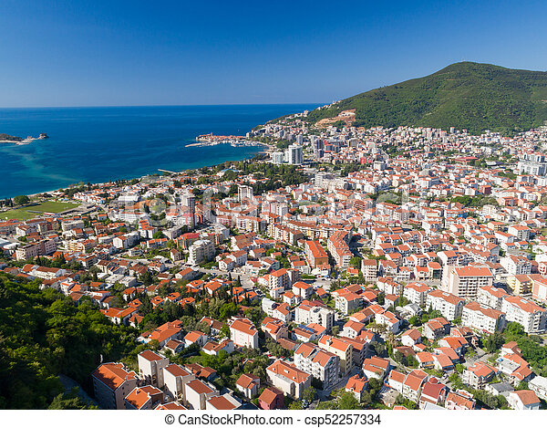 aerial view to the Old Town of Budva - csp52257334