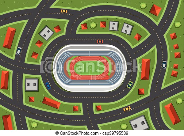 Aerial view with cars on road - csp39795539