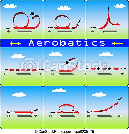Aerobatics airplane on blue sky background - csp8235175