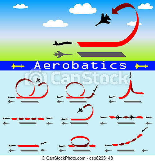 Aerobatics airplane on blue sky background - csp8235148